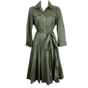 LAUREN RALPH LAUREN Earth Green Shirt Midi Dress 4